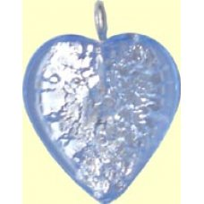 1 Small Light Sapphire-Silverfoil Heart with Silvertone Hanging Loop