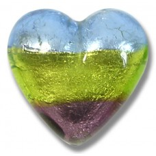 1 Murano Glass Sapphire/ Verde/ Amethyst Silver Foiled 30mm Heart