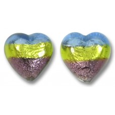 Pair Murano Glass Sapphire Lime and Amethyst Tricolour Silver Foiled 12mm Heart Beads