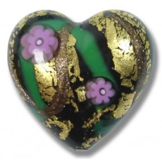1 Murano Glass Klimt Pink Goldfoil 20mm Heart
