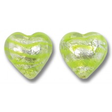 Pair Murano Glass Silver Foiled with Peppermint Spiral 12mm Heart Beads