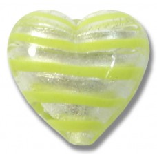 1 Murano Glass Silver Foiled with Peppermint Spiral 20mm Heart