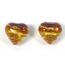 Pair Murano Glass Serale Topaz Gold Foiled Clear 12mm Heart Beads