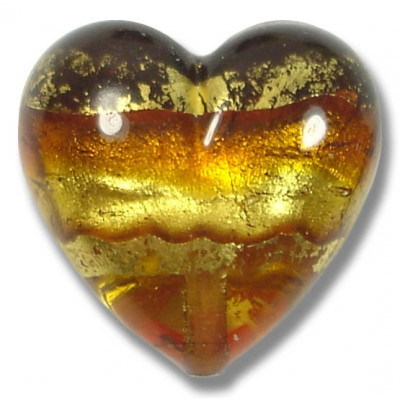 1 Murano Glass Serale Topaz Gold Foiled Band Clear 20mm Heart