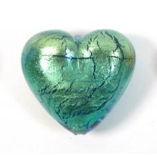 1 Murano Glass Verde Emerald Gold Foiled 30mm Heart