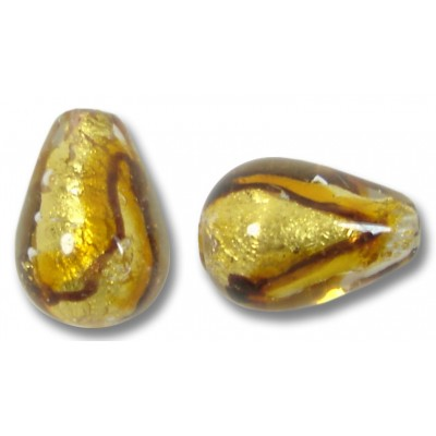 1 Murano Glass Africa Gold Foiled Drop Bead