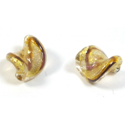 1 Murano Glass Spiral Africa Gold Foiled 15mm Bead
