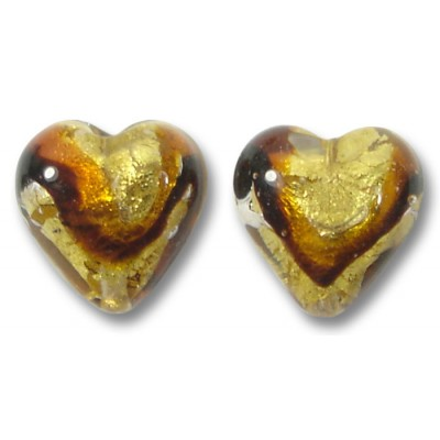 Pair Murano Glass Africa Gold Foiled 12mm Heart Beads