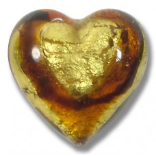 1 Murano Glass Africa Gold Foiled 20mm Heart