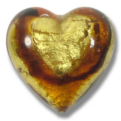 1 Murano Glass Africa Gold Foiled 20mm Heart