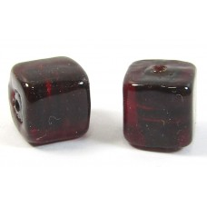 Pair Murano Glass Darkest Ruby Silver Foiled 8mm Cube Beads