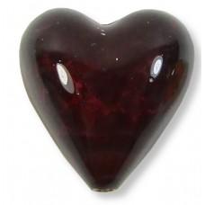1 Murano Glass Darkest Ruby Silver Foiled 20mm Heart