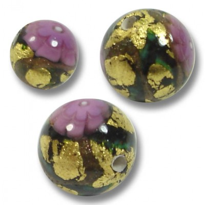 10 Murano Glass Klimt 8mm Round Beads