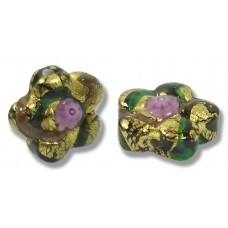 Pair Murano Glass 16mm Klimt Flower Beads