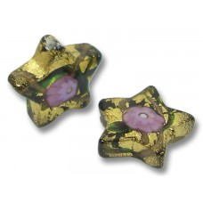 Pair Murano Glass 16mm Klimt Star Beads