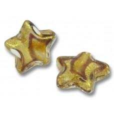 Pair Murano Glass 16mm Africa Star Beads