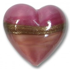 1 18mm Murano Glass Rose Ruby Gold Aventurine Satin Heart