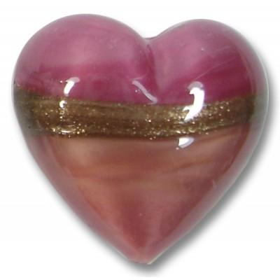 1 18mm Murano Glass Rose Ruby Gold Aventurine Satin Heart