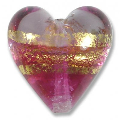 1 Murano Glass Ruby Gold Foiled Band Clear 20mm Heart