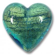 1 Murano Glass Verde Emerald Gold Foiled 20mm Heart