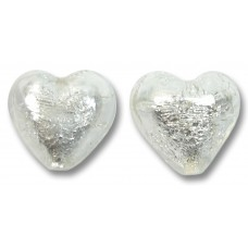 Pair Murano Glass Crystal Silverfoil 14mm Hearts