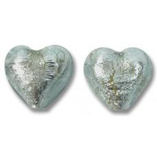 Pair Murano Glass Black Diamond Silver Foiled 14mm Heart Beads