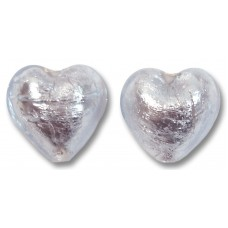 Pair Murano Glass Silver Foiled Alexandrite 16mm Heart Beads