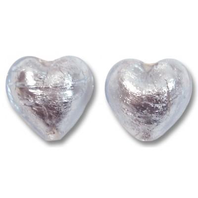 Pair Murano Glass Silver Foiled Alexandrite 16mm Heart Beads