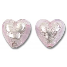 Pair Murano Glass Light Pink with Silverfoil 14mm Hearts