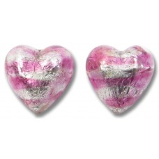 Pair Murano Glass Silver Foiled Rose 12mm Heart Beads