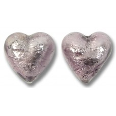 Pair Murano Glass Silver Foiled Light Amethyst 14mm Heart Beads