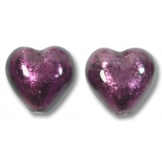 Pair Murano Glass Amethyst Silver Foiled 14mm Heart Beads