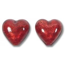 Pair Murano Glass Rubino Gold Foiled 14mm Heart Beads