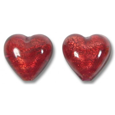 Pair Murano Glass Rubino Gold Foiled 14mm Heart Beads