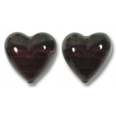 Pair Murano Glass Darkest Ruby Silver Foiled 14mm Heart Beads