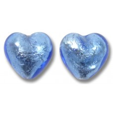 Pair Murano Glass Sapphire Silver Foiled 14mm Heart Beads