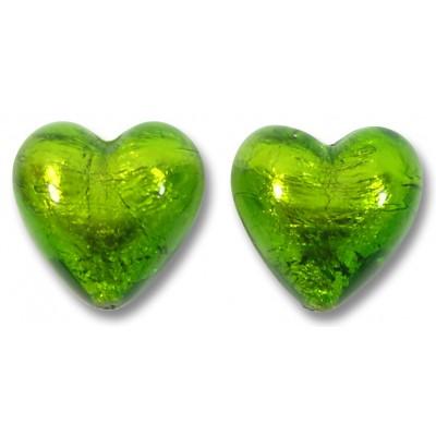 Pair Murano Glass Verde Erba Silver Foiled 14mm Heart Beads