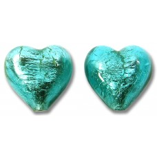 Pair Murano Glass Verde Marino Silver Foiled 14mm Hearts