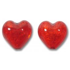 Pair Murano Glass Gold Foiled Arancio 14mm Heart Beads