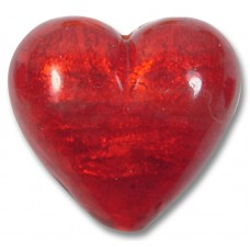 1 Murano Glass Gold Foiled Arancio 30mm Heart