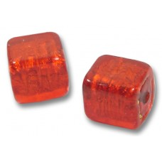 1 Murano Glass Arancio Gold Foiled 10mm Cube Bead