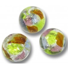 1 Murano Glass Springtime Multi-Coloured Silver Foiled 8mm round Bead