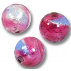 1 Murano 'Victorian Berries' Bi-Coloured Silver Foiled 10mm round Bead