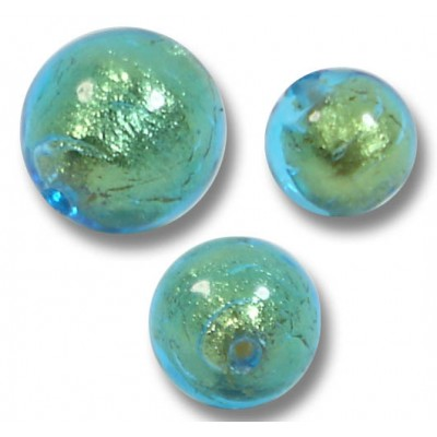 10 Murano Glass Verde Emerald Gold Foiled 6mm Round Beads.