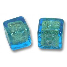 Pair Murano Glass Verde Emerald Gold Foiled 8mm Cube Beads