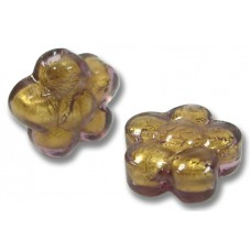 Pair Murano Glass Chocolate Amethyst Gold Foiled Flower Beads