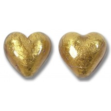 Pair Murano Glass Chocolate Amethyst Gold Foiled 14mm Heart Beads