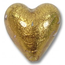 1 Murano Glass Chocolate Amethyst Gold Foiled 20mm Heart
