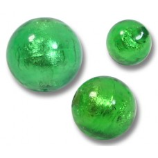 1 Murano Glass Silver Foiled Emerald 14mm Round Bead