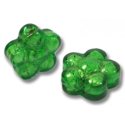 Pair Murano Glass Silver Foiled Emerald Flower Beads